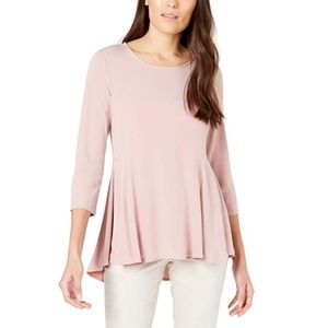 Alfani Womens Hi-Low Ruffled Peplum Top